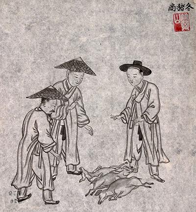 조선 말기 화가 김준근의 그림 '동저상'.