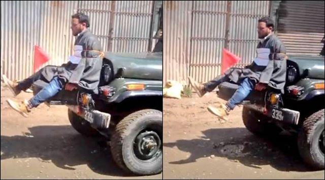 카슈미르 주도 스리나가르의 주민 파룩 아흐마드 다르가 9일 인도 군인의 군용차 앞에 묶여 있다. 유튜브 캡처
