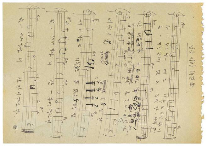 김종률 사무처장이 1982년 직접 쓴 악보.