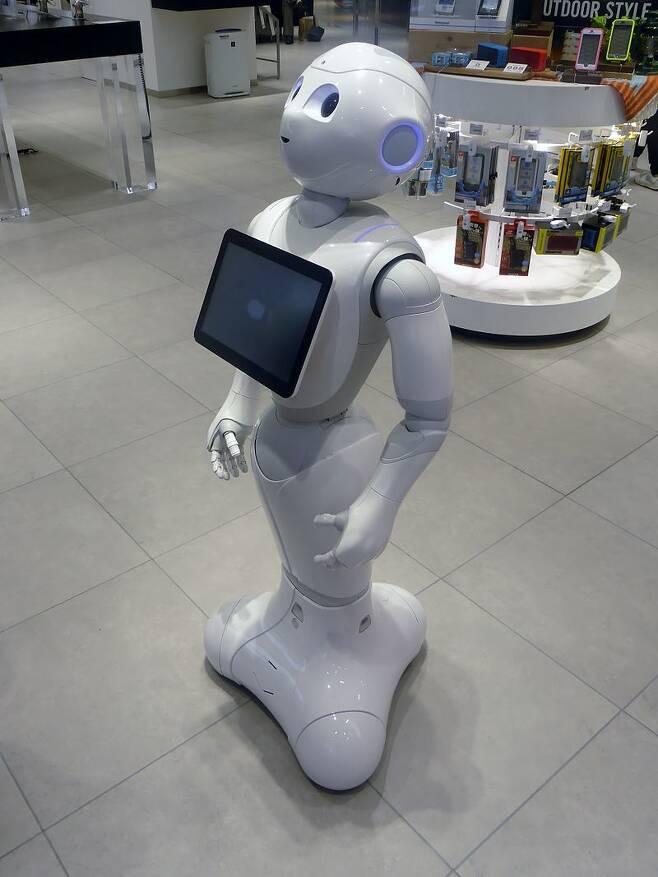 소프트뱅크가 프랑스 알데바란 로보틱스와 함께 개발한 감성로봇 '페퍼'. 위키미디어 코먼스