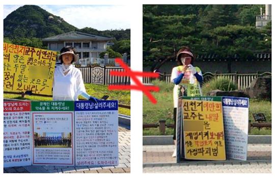 """오른쪽 W사 기사 속 여성은 국민일보 기사 사진 속 김귀자씨와 다른 인물이다. 즉 """"친딸이 곁에서 나란히 시위를 했다""""는 주장은 사실이 아니다."""