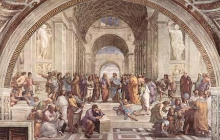 아테네 학당(1509~1510). 라파엘로는 이 그림에서 인류 역사상 큰 발자취를 남긴 위인들을 한데 모아 놨다. 어두웠던 중세가 끝나고 교육과 문화, 예술, 과학이 꽃피웠던 르네상스 시대를 표현하기 위해서였다. 그림 정중아엔 손을 위로 들고 이데아를 이야기하는 플라톤과 손바닥을 아래로 가리키며 현실의 인간을 강조하는 아리스토텔레스가 있다. [중앙포토]
