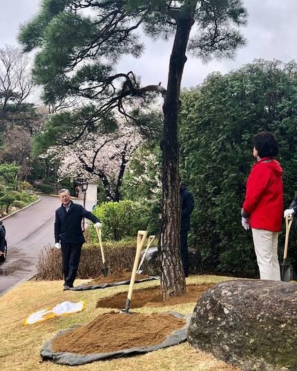 문재인 대통령은 지난 5일 청와대 여민관에 나무 한 그루를 심었다. 사진=청와대 홈페이지