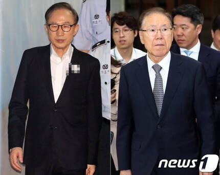 이명박 전 대통령(왼쪽)과 김백준 전 청와대 총무기획관.  © News1