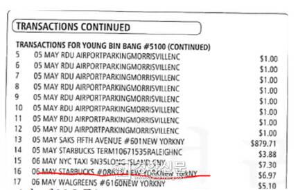 방석호 전 아리랑TV사장의 아들이 법원에 제출한 신용카드 사용내역. 방 전 사장이 뉴욕출장이던 2015년 5월6일 그의 아들이 뉴욕 스타벅스 #08615점에서 신용카드를 사용하고 6.97달러를 결제한 사실이 기재돼 있다.