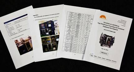 2013년 10월 한국원자력연구원이 국제핵융합실험로(ITER) 기구에 제출한 폐기물 처리 관련 기술 제안서.문서에는 에네시스(ENESYS), 한국전력기술(KEPCO-ENC) 등이 주요 파트너로 표시돼 있다.