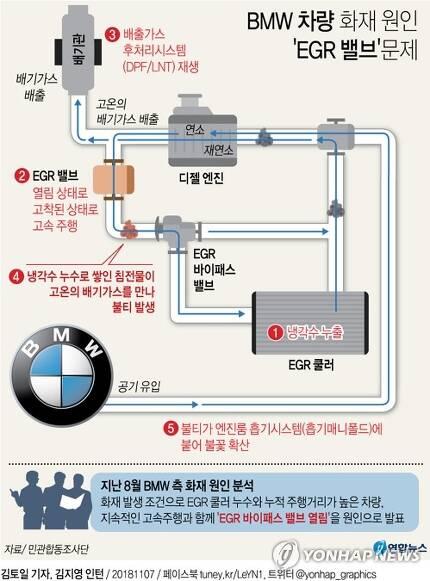 [그래픽] BMW 화재 원인은 'EGR 밸브' 문제…회사 발표와 달라