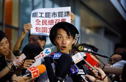 지난 6월 지미 샴 홍콩 민간인권전선 의장이 기자들의 질문에 답하고 있다.[로이터=연합뉴스]