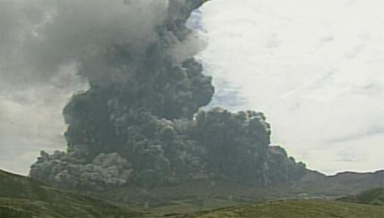 아소산 화산 폭발. [사진 일본 기상청 방송 캡쳐]