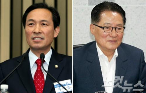 더불어민주당 우상호 원내대표, 국민의당 박지원 비대위원장