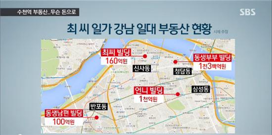 최태민의 자녀들이 현재 소유하고 있는 부동산 규모는 모두 수천 억대에 이르나, 그 부동산 구입배경과 비용이 어디서 나왔는지는 여전히 밝혀지지 않고 있다. 사진 = SBS 뉴스 화면 캡쳐