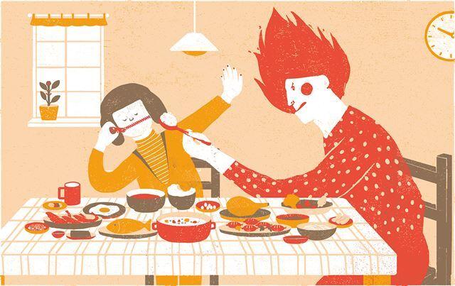입이 짧고 까다로운 아이를 키우다 보면 부모는 밥 먹이기에 강박적으로 매달리게 된다. 부모와 자식의 관계는 그렇게 틀어지기 시작한다. 일러스트 김경진 기자