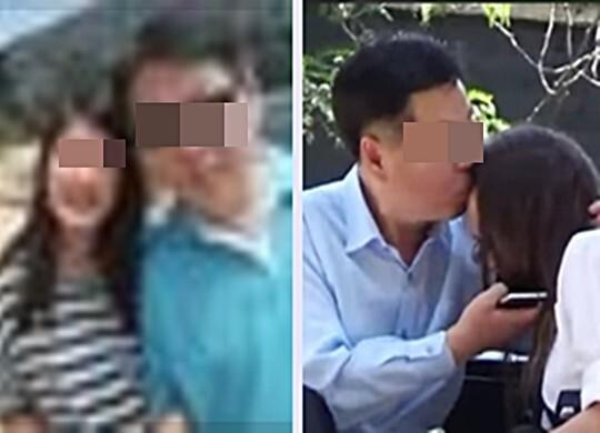 칠레 외교관이 과거 딸로 추정되는 아이와 함께 찍은 사진(왼쪽)과 그가 현지 방송에서 소녀로 가장한 여성에게 입맞춤하는 장면.