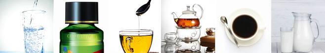(왼쪽부터) 물, 숙취해소 음료, 꿀물, 차, 커피, 우유. /조선DB·헬스조선