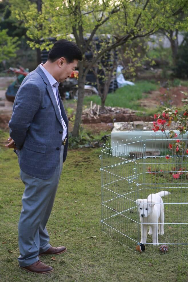 박이복(62)씨가 청와대에서 입양해 온 진돗개 '해피'를 보며 흐뭇한 표정을 짓고 있다.  광주/남종영 기자