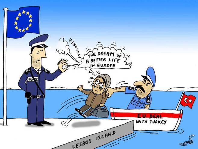 EU와 터키의 난민송환협정을 비꼰 만평