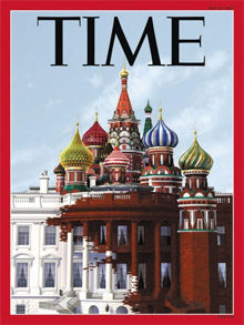 """미국 집어삼키는 러시아? - 18일(현지 시각) 공개된 미국 시사 주간지 타임 최신호 표지. 미국 백악관 위에 러시아 모스크바를 상징하는 성 바실리 대성당이 얹혀 있고, 성당에서 흘러내리는 붉은색이 하얀 백악관을 물들이는 모습이다. 워싱턴포스트는 """"러시아가 미국을 집어삼키는 것을 단적으로 표현했다""""고 보도했다. /타임"""