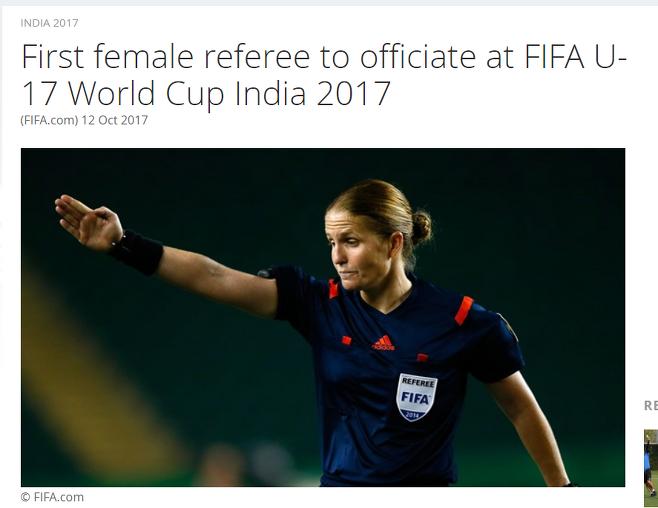 ▲ 에스터 스타우블리가 남자 국제 대회 최초 여성 주심이라고 보도한 FIFA 홈페이지 뉴스