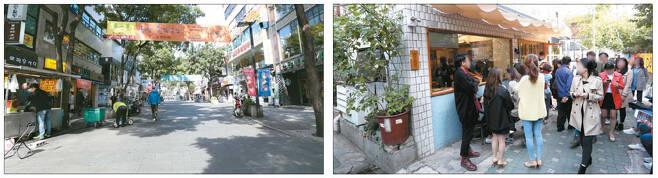 13일 오전 서울 종로구 인사동 중심거리(왼쪽)는 행인조차 드문 한산한 풍경이었지만 같은 시간 바로 옆 익선동 골목(오른쪽)에는 젊은 층 방문객들이 가득 찼다. [이충우 기자]