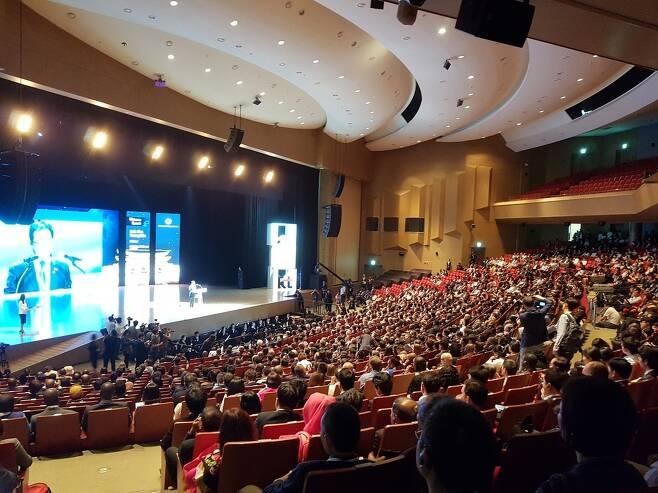 25일 벡스코 오디토리움에서 열린 '2017 ITU(국제전기통신연합) 텔레콤 월드' 개막식에 3000여명이 참가했다. 김광수 기자