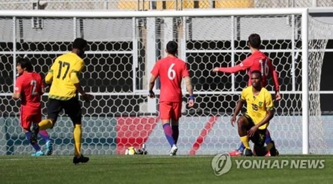 ▲ 한국은 전반 5분 만에 자메이카에 선제골을 내줬다. ⓒ연합뉴스