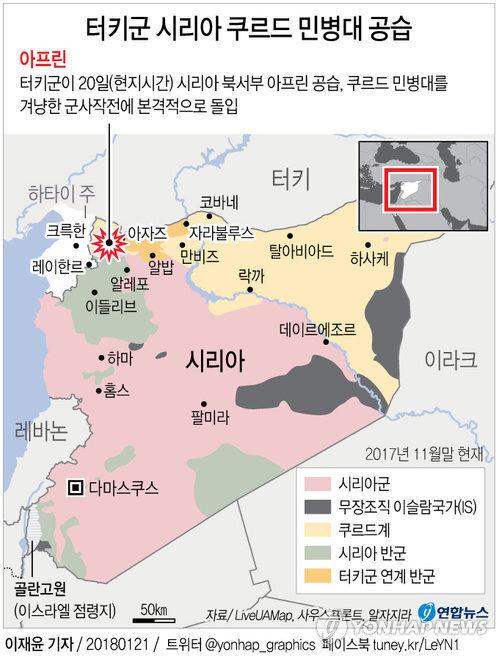 터키군의 시리아 쿠르드 민병대 공격 작전지대.