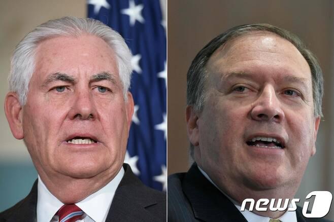 렉스 틸러슨 국무장관(왼쪽)과 마이크 폼페오 중앙정보국 국장(오른쪽). / AFP PHOTO / MANDEL NGAN