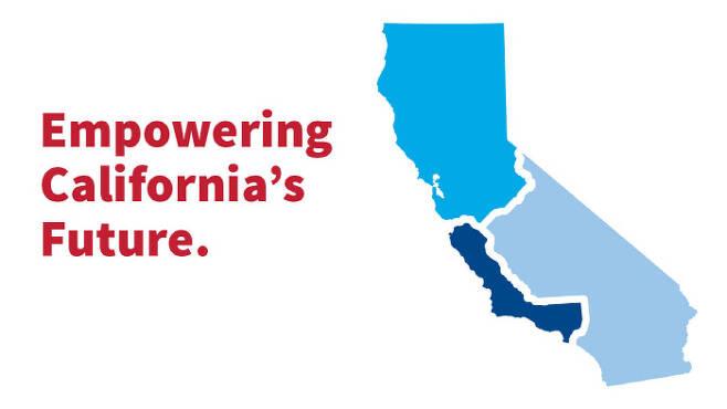 """미 캘리포니아주를 3개주로 나눌 것을 주장하는 '캘(Cal)3' 캠페인의 홍보물. """"캘리포니아의 미래에 힘을 싣자""""고 쓰여있다.  캘3 캠페인 공식 홈페이지"""