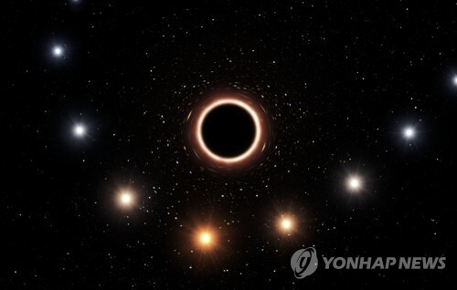 블랙홀 궁수자리 A*를 근접해 지나간 항성 S2 항로 상상도 [AFP=연합뉴스]
