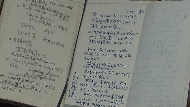 일본 TV에 촬영된 1988년 작성 도미타 메모