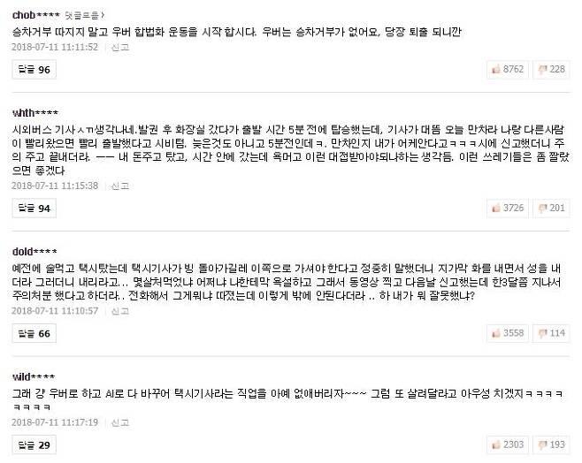 택시 승차거부를 다룬 포털 사이트의 기사에 달린 댓글들은 하나같이 택시 기사들을 비판하는 논조였다. /사진=포털 사이트 캡처
