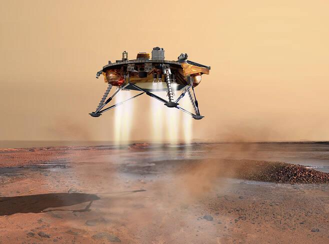 화성 착륙선 인사이트가 연착륙하기 위해 화성 지표로 내려가는 그래픽