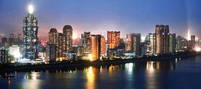 2015년 11월3일 북한 평양에서 대규모 주택단지인 미래과학자거리 준공식이 진행됐다고 북한 조선중앙통신이 보도했다. ⓒ 연합뉴스