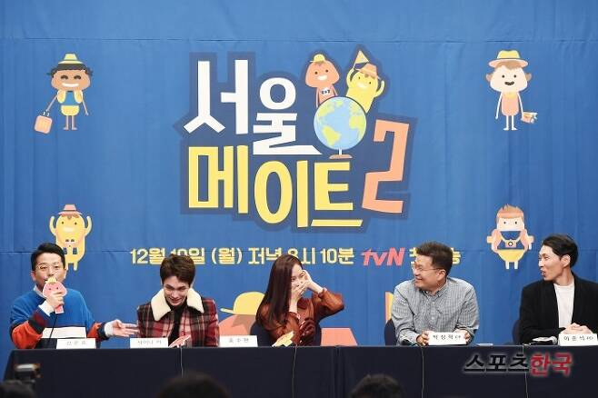 tvN '서울메이트2' 제작발표회에 참석한 김준호, 샤이니 키, 홍수현, 박상혁 CP, 이준석 PD. 사진=이혜영 기자 lhy@hankooki.com