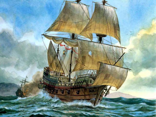 프랜시스 드레이크가 1577년 사상 두번째 세계 일주에서 사용한 골든 하인즈호. 모험가이자 국가에서 면허장을 받은 해적(사략선장), 영국 해군 부사령관을 지닌 그의 이력에서 보듯이 당시에는 군함과 일반 배의 차이가 거의 없었다. 최근 컨테이너미사일 발사 시스템을 상선에 배치하려는 구상은 16세기 무장상선 시대를 연상하게 만든다.