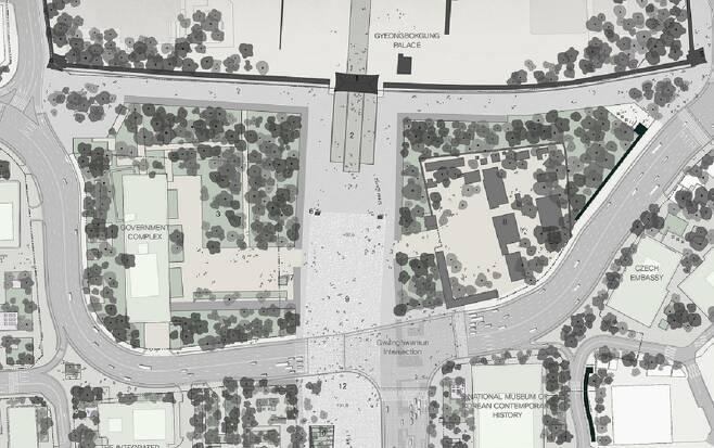 서울시의 광화문 광장 새 설계안을 보면, 정부서울청사 앞마당은 광장이 되고, 뒤쪽으로는 6차로의 도로가 지나간다. 서울시.