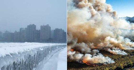 얼어붙은 미국 시카고 미시간 호(왼쪽)과 사상 최악의 폭염으로 불타는 호주 태즈매니아주(州) 삼림 [로이터=연합뉴스]