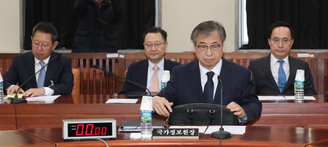 서훈 국가정보원장이 5일 국회에서 열린 정보위원회 간담회에서 답변을 준비하고 있다./연합뉴스