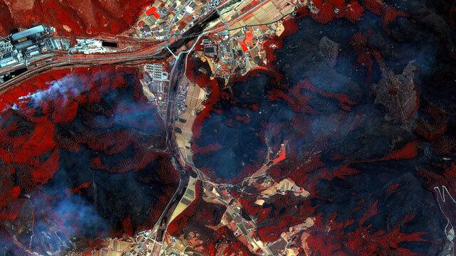 아리랑 3호가 찍어온 강릉 옥계 지역 위성사진 (4월 5일 오후 1시)
