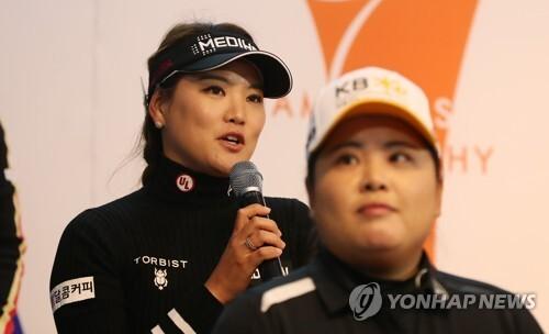 박인비(오른쪽)와 유소연. [연합뉴스 자료사진]