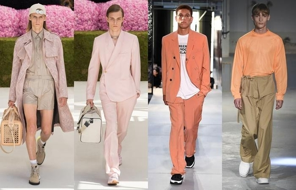2019 봄여름 패션쇼에 등장한 핑크색 남성복./디올, 버버리, 아크네스튜디오