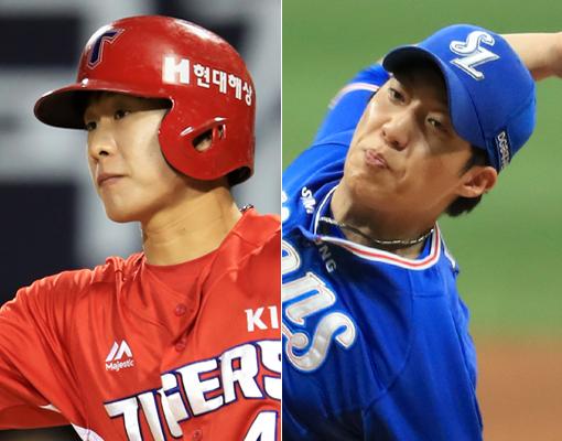 KIA 박찬호(왼쪽)-삼성 원태인. 사진제공|스포츠코리아