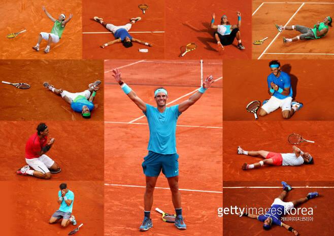 나달의 프랑스오픈 우승 순간들을 모아놓은 사진.  게티이미지코리아