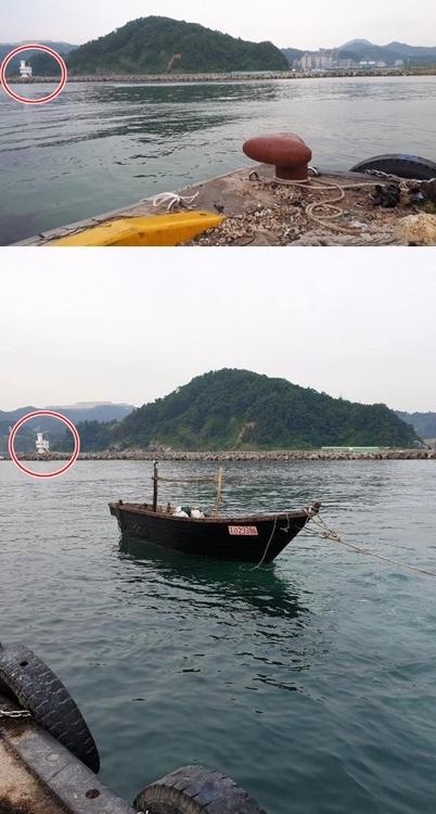 삼척항 정박한 북한 어선 아래 사진은 독자 제공 [독자 제공.재판매 및 DB 금지]