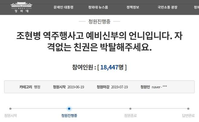 조현병 운전자의 역주행 사고로 결혼을 앞두고 목숨을 잃은 예비신부의 유가족이 지난 19일 오후 청와대 국민청원 홈페이지에 올린 글.(청와대 국민청원 홈페이지 캡처)© 뉴스1