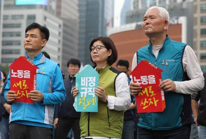 2018년 5월1일 오후 서울광장에서 '한국사회 노동을 새로 쓰자'를 주제로 '2018 세계노동절대회' 집회가 열리고 있다. ⓒ시사저널