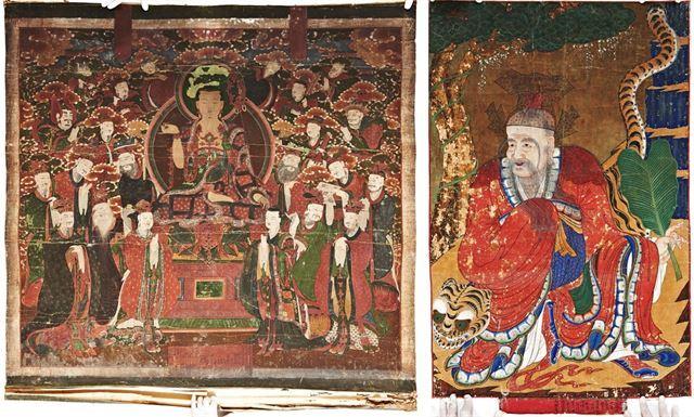 조선 중기인 1764년에 제작된 경북 경주 금정사의 '지장시왕도'(왼쪽). 2004년에 도난됐던 이 탱화는 10년 만에 2014년 미술경매에 다시 등장했다. 1879년 작인 경북 안동 봉정사의 '지조암 산신도'(오른쪽) 또한 같은 자리에서 발견됐다.  이 작품은 1989년 도난됐다. 서울경찰청 제공