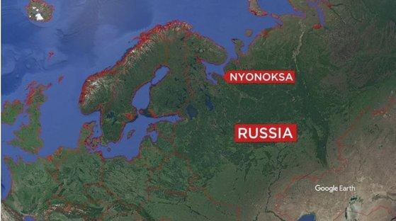 폭발 사고가 발생한 러시아 북서부 뇨녹크스 지역[구글]