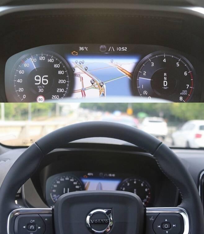 계기판에도 차량 내외부 정보가 표시돼 안전 운전에 큰 도움이 된다. 아래 사진 왼쪽 하단에 오토파일럿 버튼이 있다. 오토파일럿을 작동하고 주행하는 장면이다. 사진=글로벌이코노믹 정수남 기자