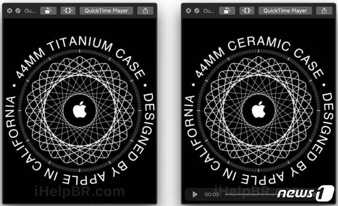 아이헬프(iHelp)BR이 확인한 워치OS6 베타의 애플워치5 유출 이미지. 티타늄·세라믹 케이스가 표기되어 있다. (ihelpBR 갈무리) © 뉴스1